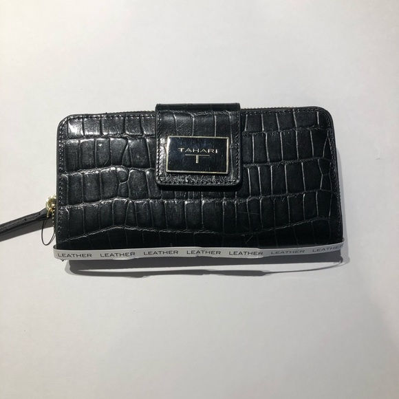 bff8916e19e6 Tahari croco Leather tab clutch Black wallet NWOT Boutique